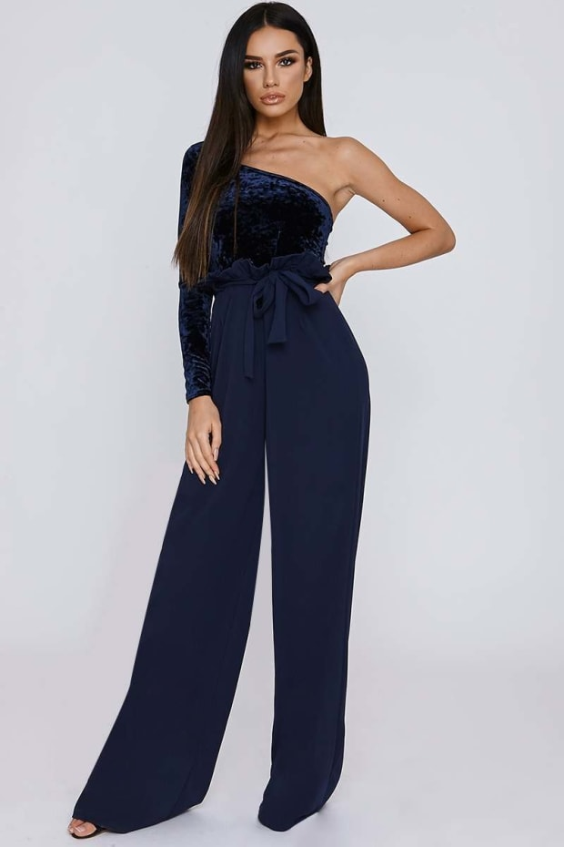 SARAH ASHCROFT NAVY CREPE PAPERBAG TROUSERS
