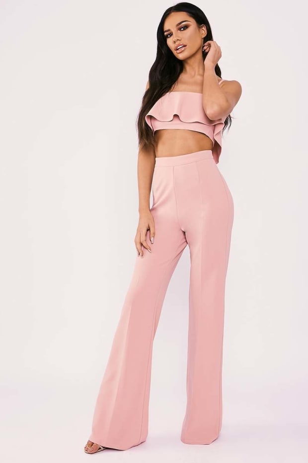 SARAH ASHCROFT PINK TALL HIGH WAISTED WIDE LEG TROUSERS