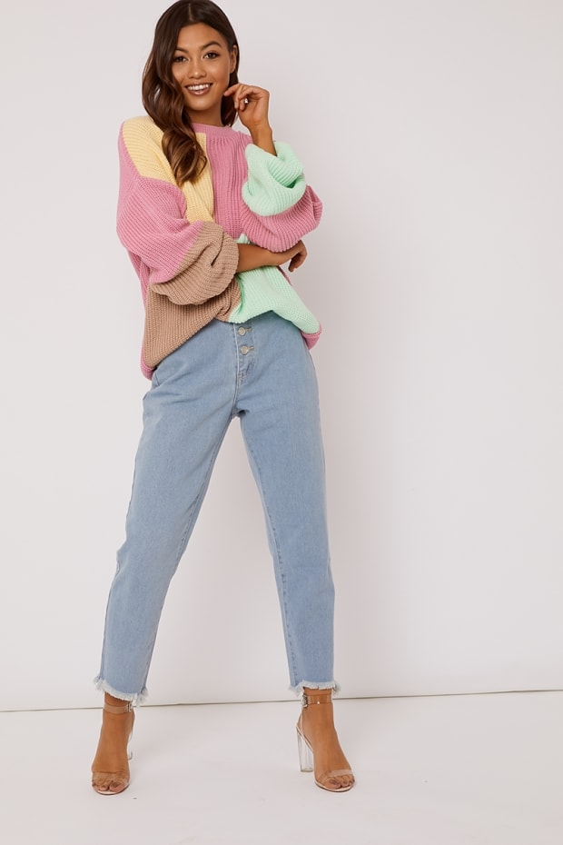 SARAH ASHCROFT PINK MULTI COLOUR BLOCK OVERSIZED KNITTED JUMPER