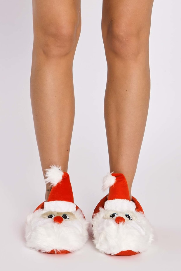 SANTA CLAUS RED FLUFFY SLIPPERS