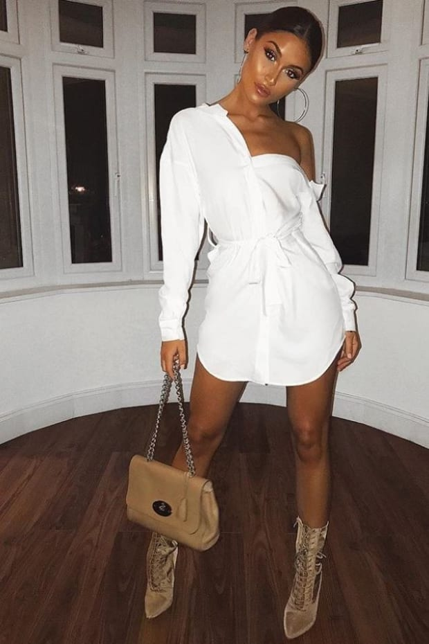 SARAH ASHCROFT WHITE ASYMMETRIC SHIRT DRESS