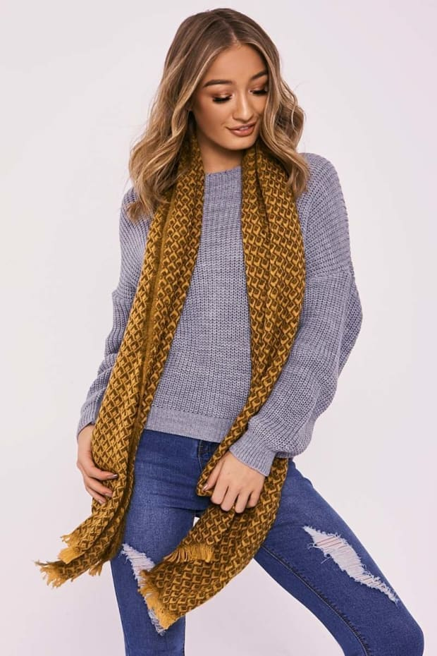 MUSTARD PATTERNED OVERSIZED SCARF
