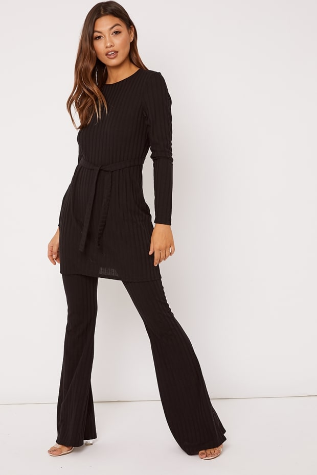 LEYDA BLACK RIBBED FLARE LEG TROUSERS