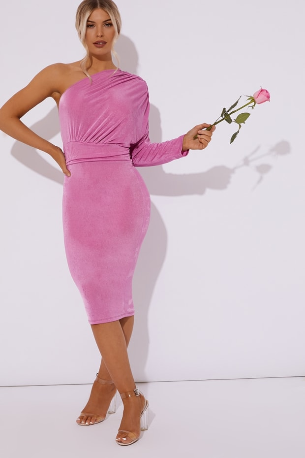 5074413a221f DIAMONA PINK ONE SHOULDER ACETATE SLINKY MIDI DRESS. Previous