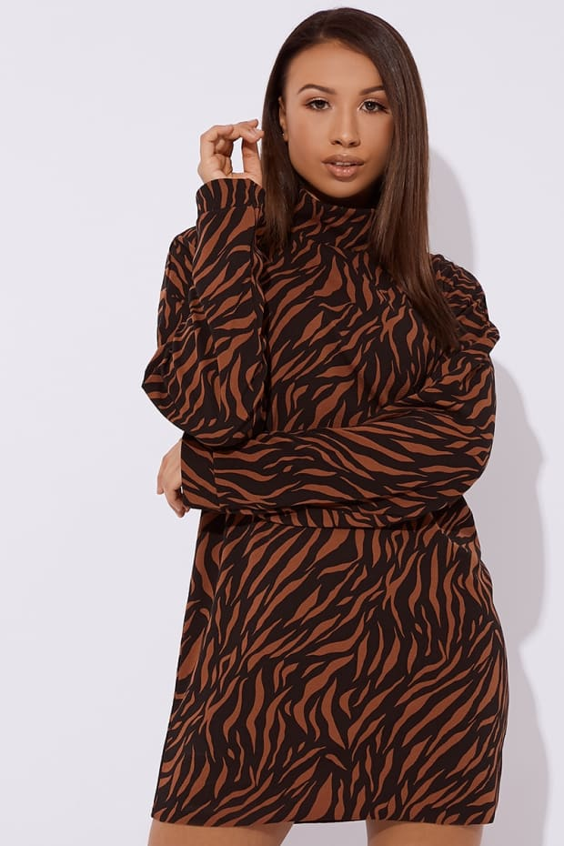69a207e49d DOCIE BROWN ZEBRA STRIPE SLOUCHY HIGH NECK MINI DRESS. Next