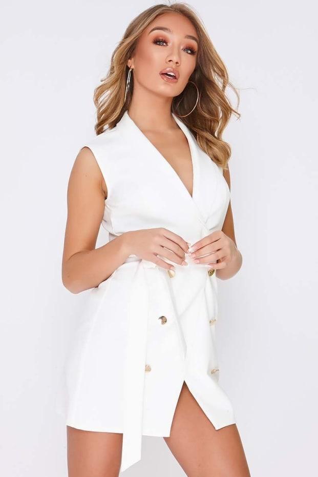 TAMMY HEMBROW WHITE WRAP FRONT BLAZER DRESS