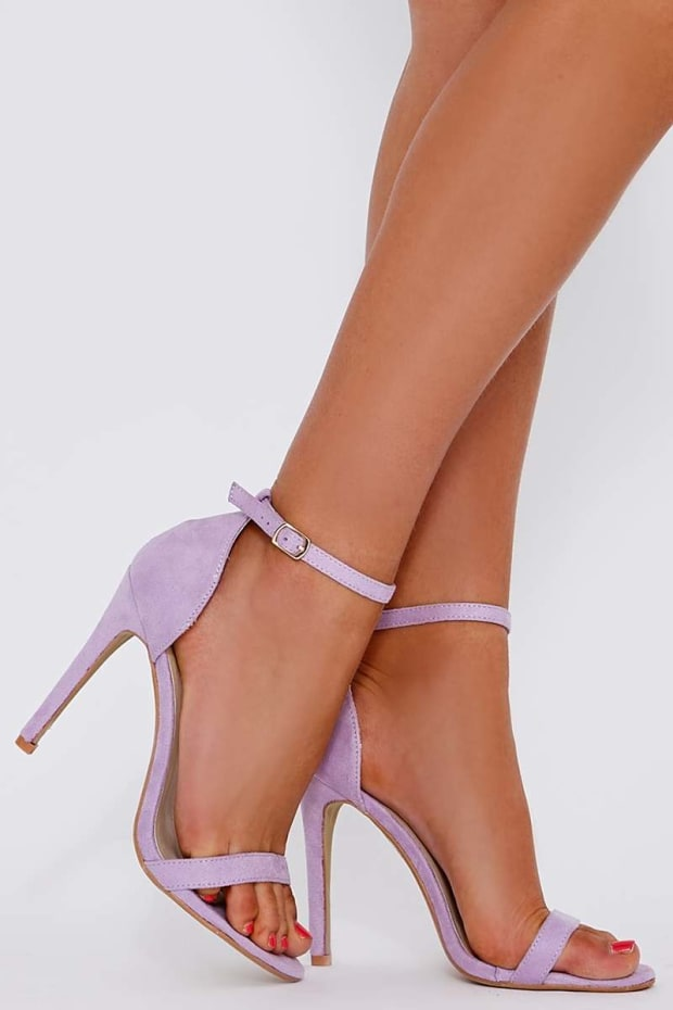 MARNEY LILAC FAUX SUEDE ANKLE STRAP HEELS