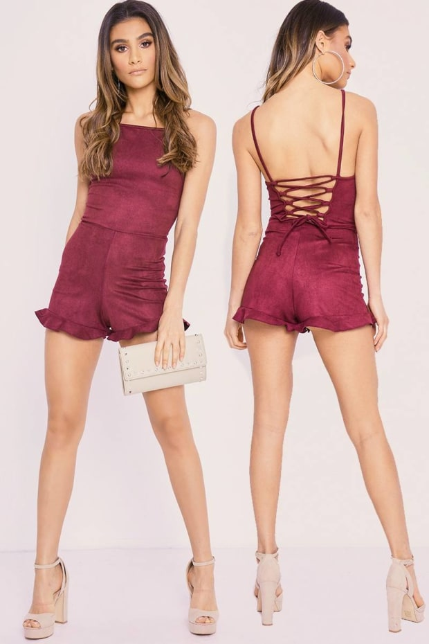 CHARLOTTE CROSBY WINE FAUX SUEDE LACE UP FRILL HEM PLAYSUIT