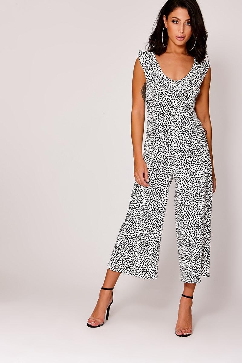 a594e6e7db8 Easton White Leopard Print Frill Culotte Jumpsuit