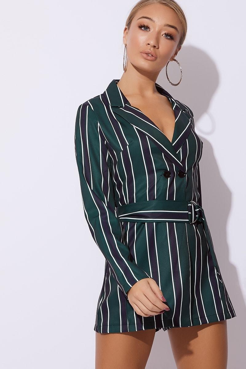 0bf1c376db3 Aiesha Green Striped Belted Blazer Playsuit