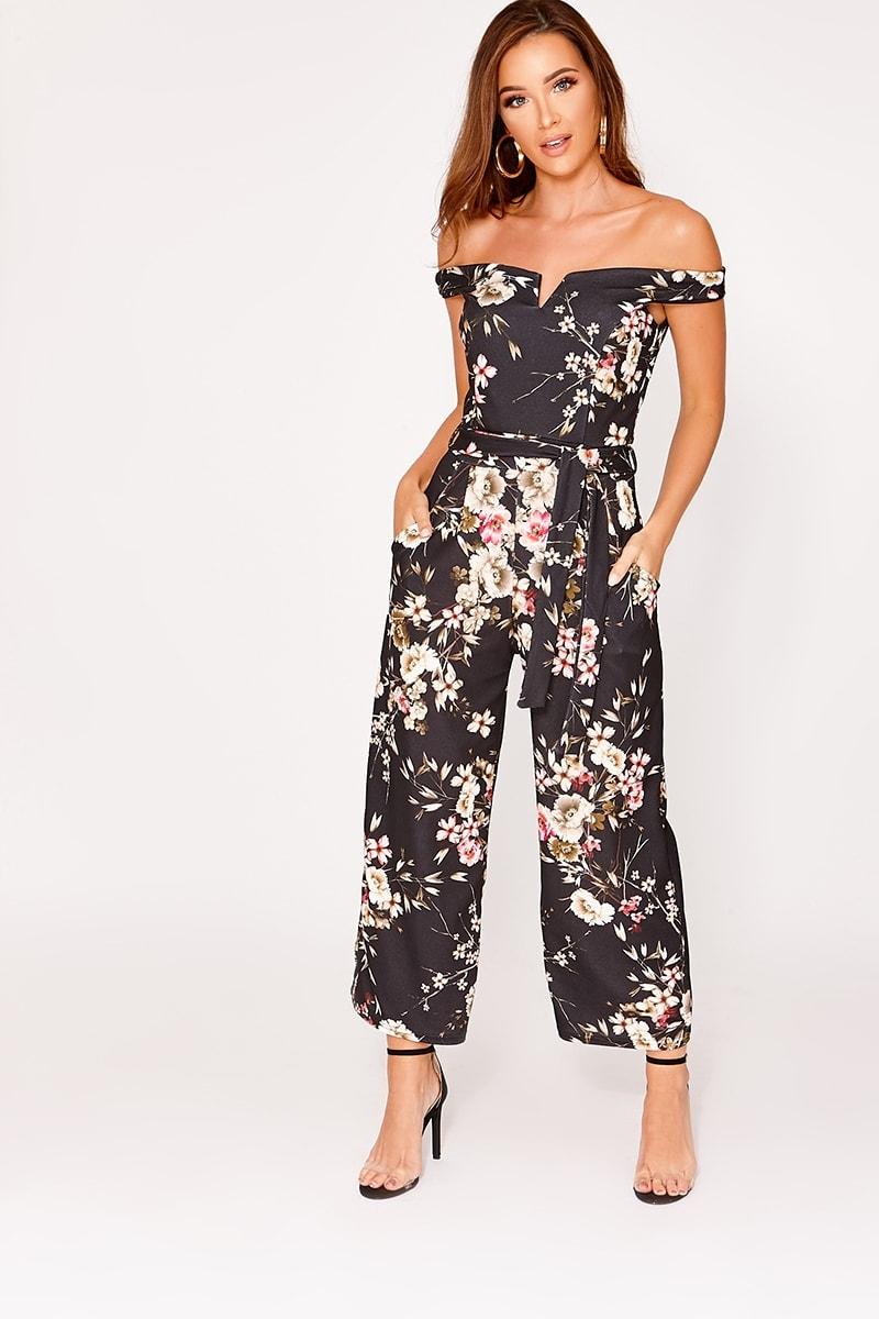 99a9cf3aea5 Lizbeth Black Floral Bardot Culotte Jumpsuit