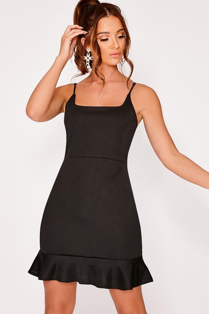 Dyanie Black Frill Hem Bodycon Dress  bca911965