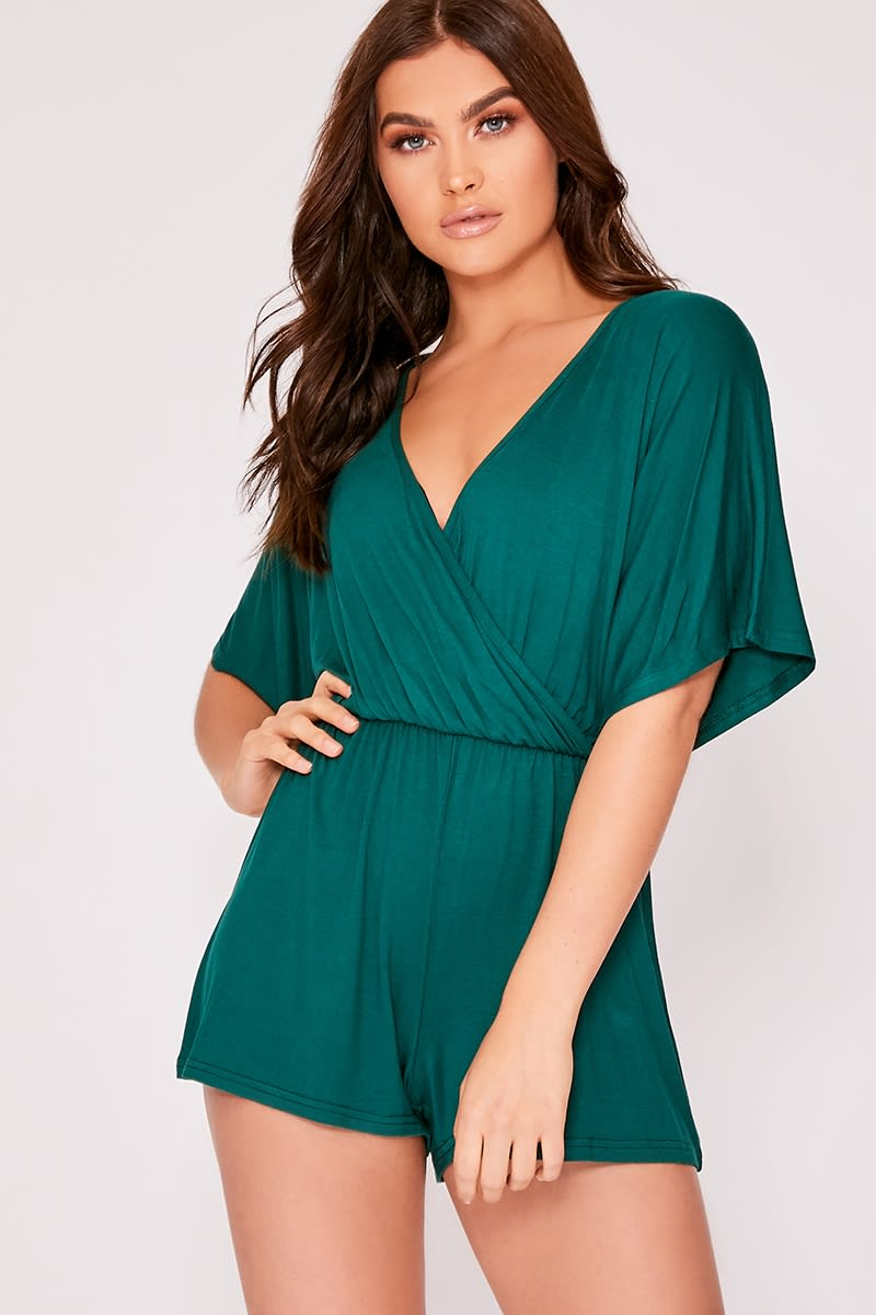 09c18a82926a3 Dorothy Green Jersey Plunge Wrap Playsuit