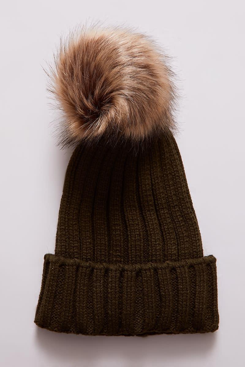 f2534a465f8 Black Faux Fur Pom Pom Beanie Hat