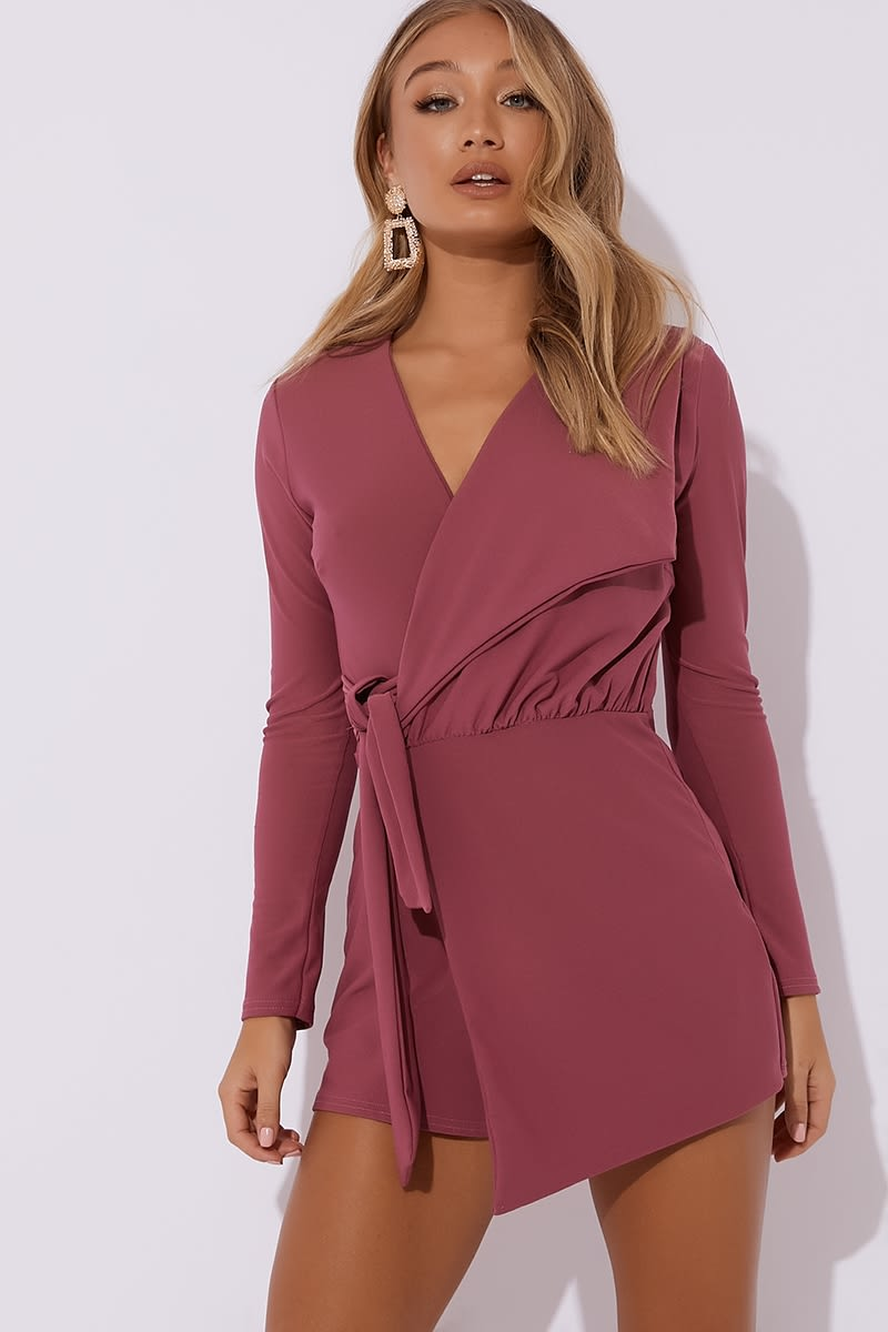 e42d92296ee6 Franklyn Raspberry Plunge Wrap Over Playsuit