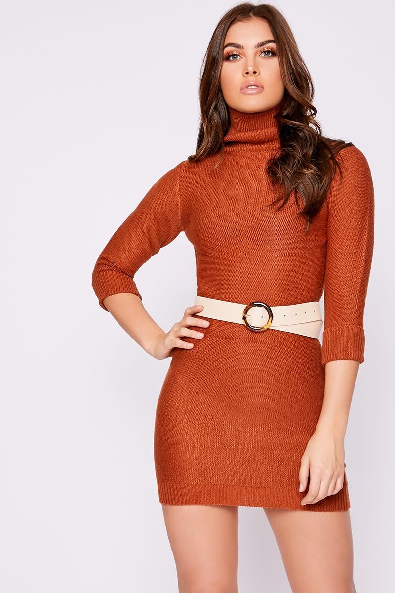 91233bd56fe Mandye Rust Roll Neck Knitted Jumper Dress