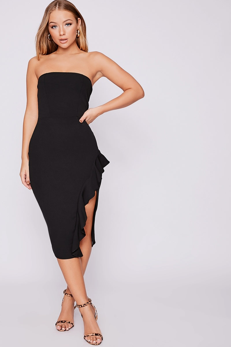 b47cc889ea232 Billie Faiers Black Bandeau Frill Side Midi Dress