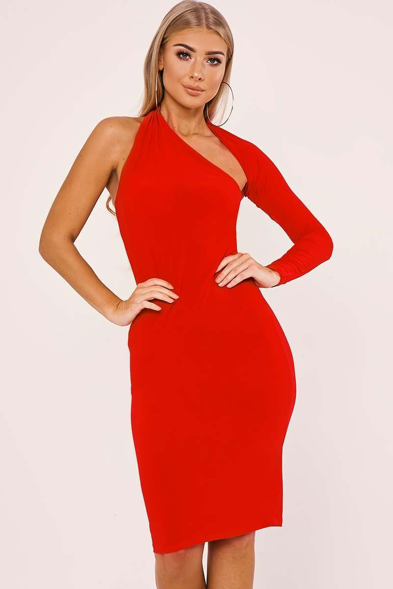 7930b7d1363e8 Billie Faiers Red One Sleeve Slinky Midi Dress