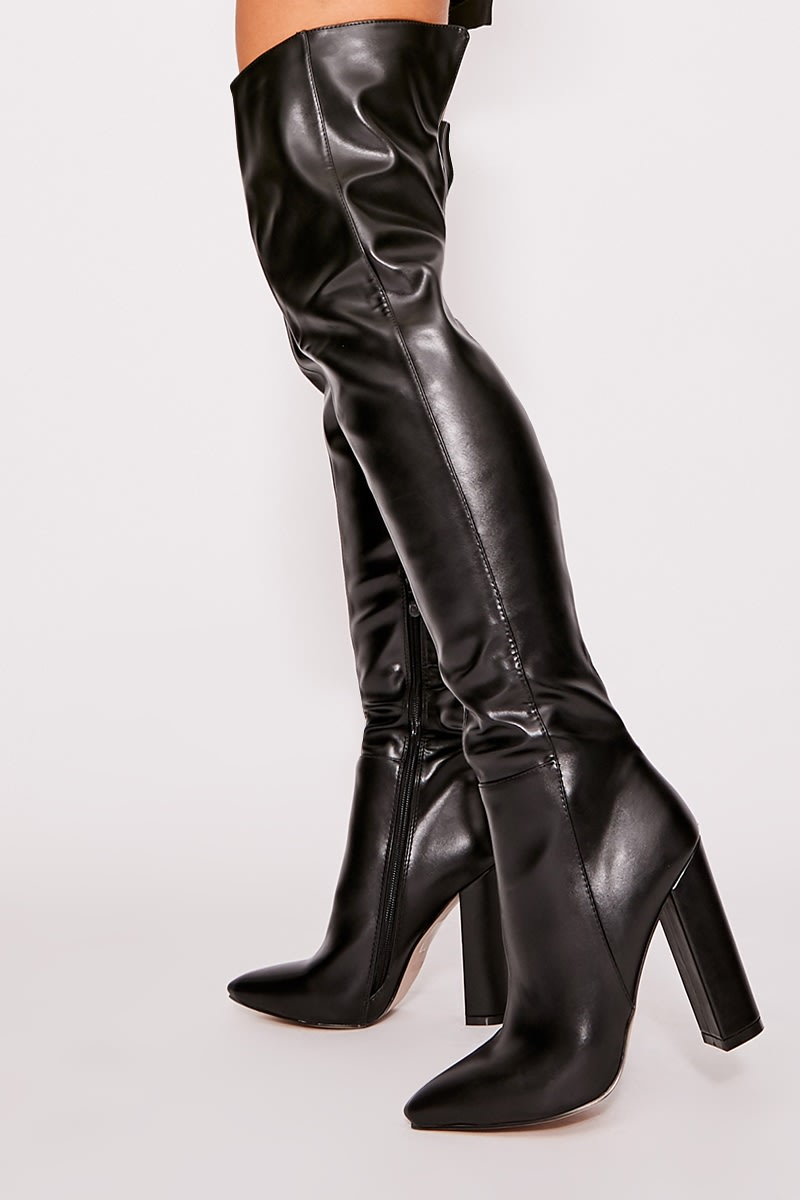 63ab954f61d Urshia Black Faux Leather Over The Knee Boots