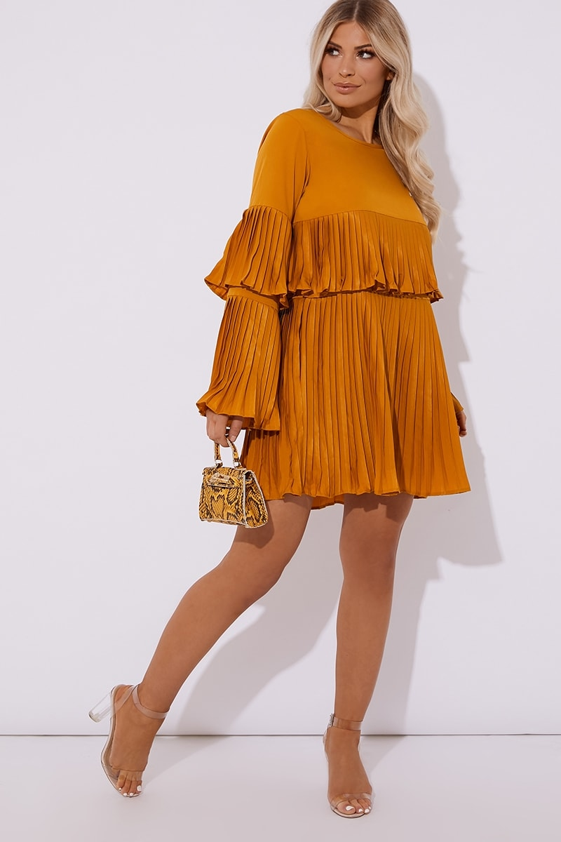 Yellow Pleated Mini Dress