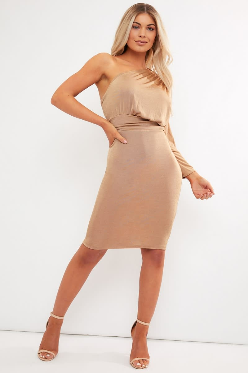81e7958627f9 Diamona Camel One Shoulder Acetate Slinky Midi Dress