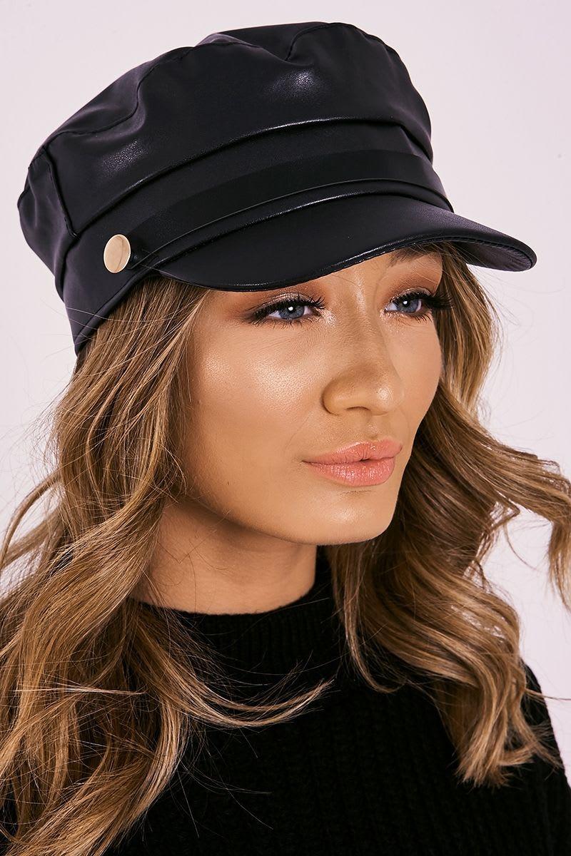 d2d5d8f358c Black Faux Leather Button Detail Baker Boy Hat