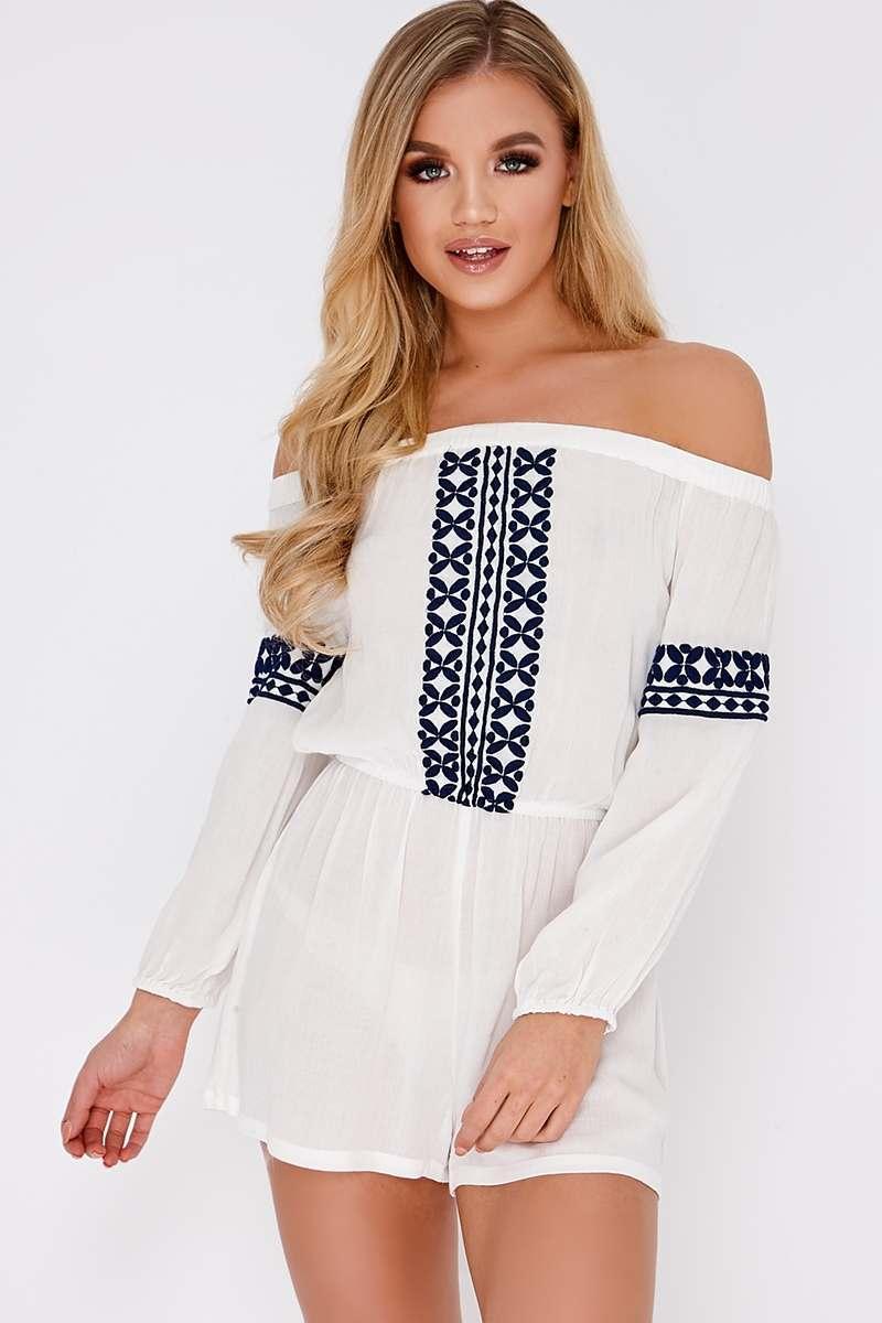 5841353c6f0 Estele White Embroidered Bardot Playsuit