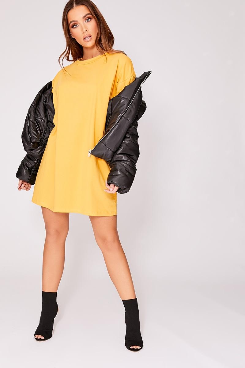 669609412b Cyndi Mustard Basic Oversized T Shirt