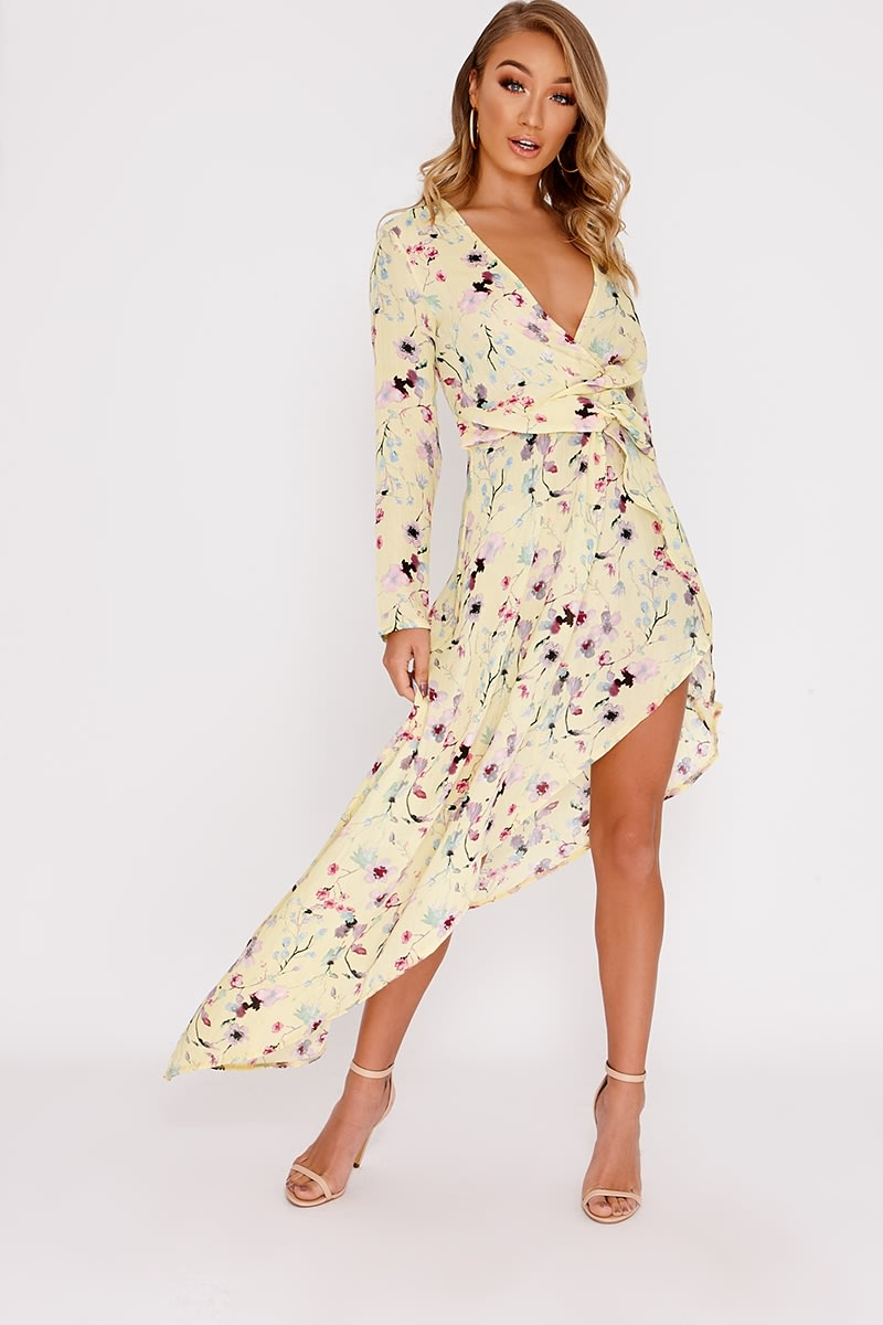 32b4ff031facc7 Caria Yellow Floral Print Plunge Asymmetric Hem Midi Dress