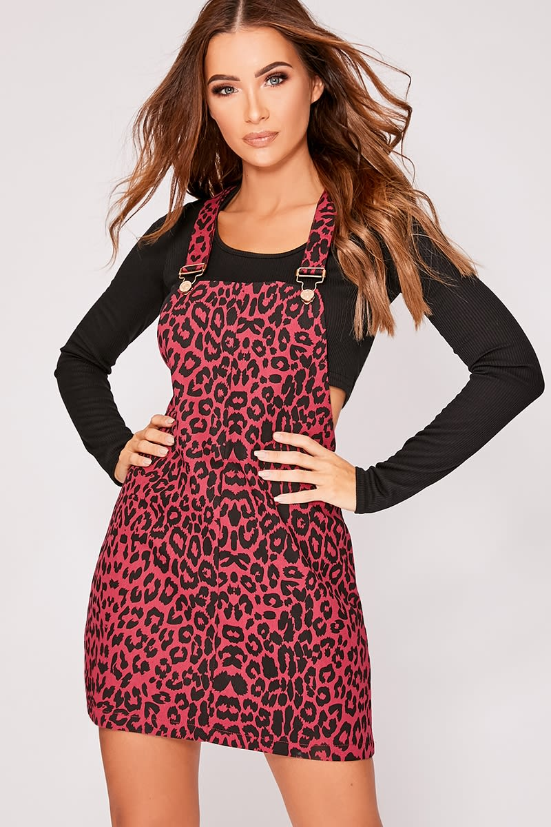 bb6db78d233 Danu Berry Leopard Print Denim Pinafore Dress