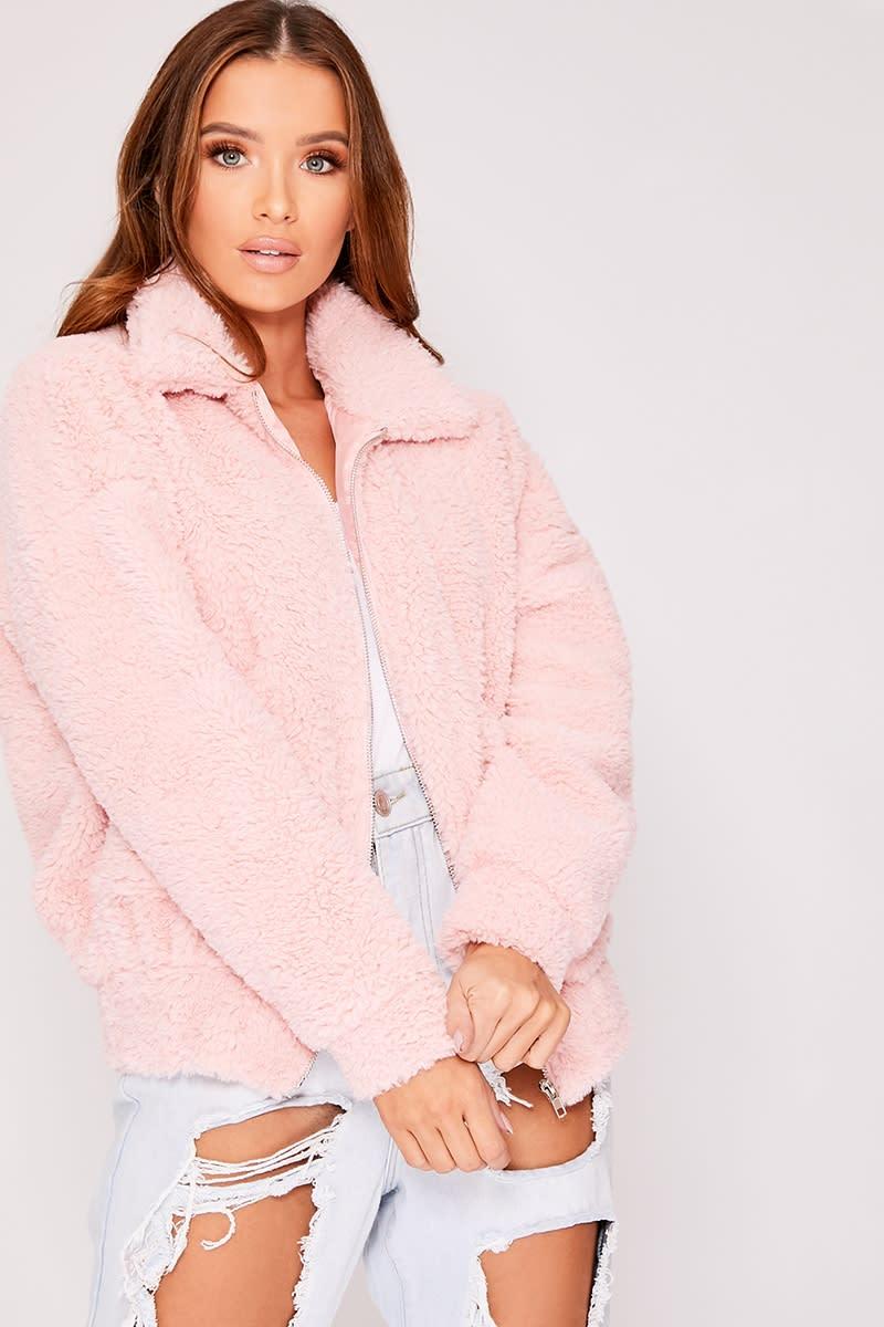 Kaelia Pink Teddy Fur Bomber Jacket  7f1eb592e3c07
