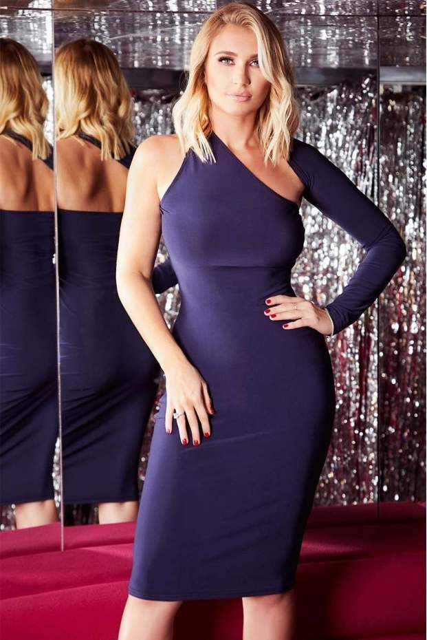 8ad37ea142d60 Billie Faiers Navy One Sleeve Slinky Midi Dress