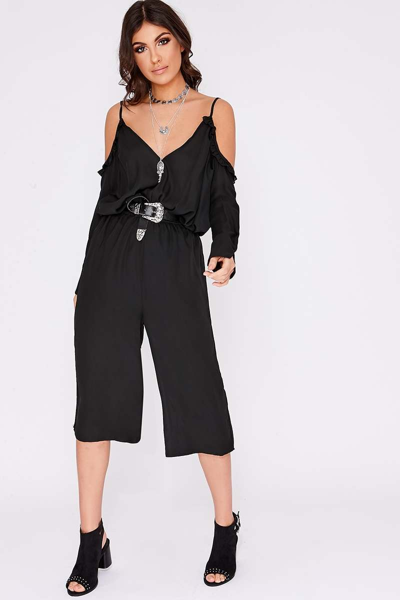 328e18519d4 Rhondi Black Frill Cold Shoulder Jumpsuit