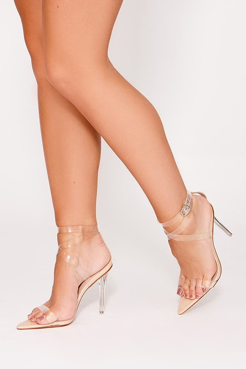 7e4e8d0f386 Valaria Nude Clear Strappy Pointed Detail Heels
