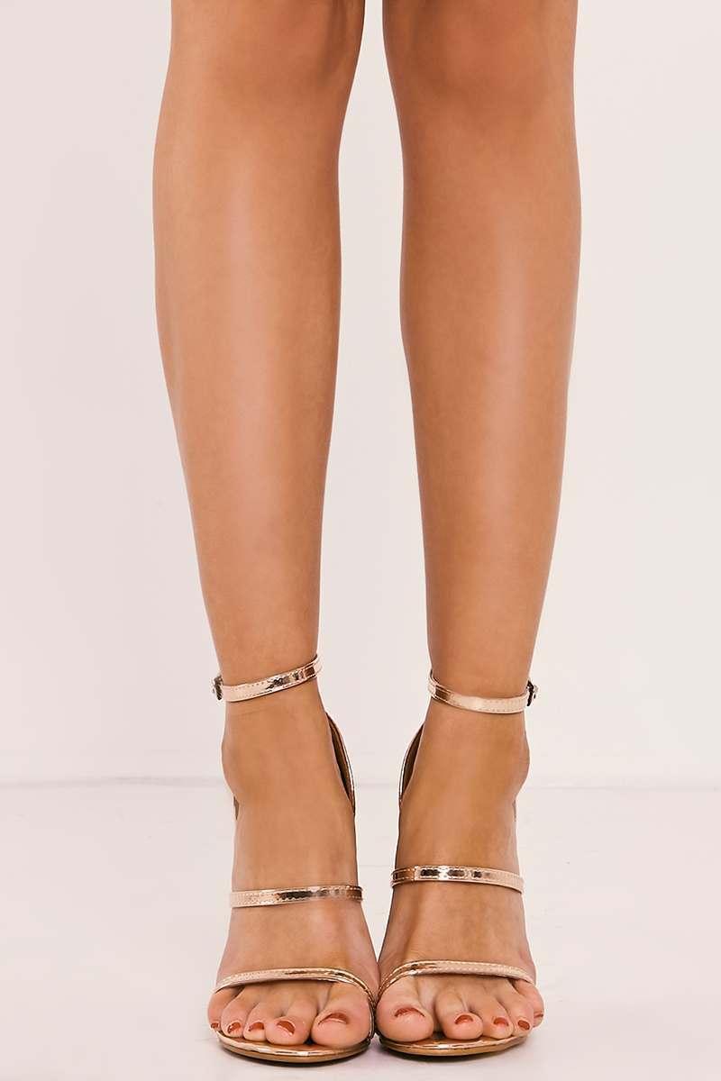 f0e544292745 Cinder Rose Gold Strappy Heels