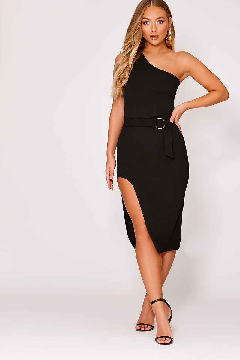 88fca4458131 Billie Faiers Black One Shoulder Side Split Midi Dress