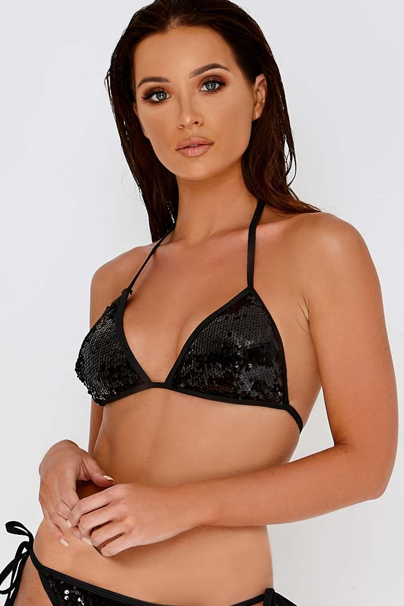 b61b25b8c92b0 Jacobella Black Sequin Bikini Top