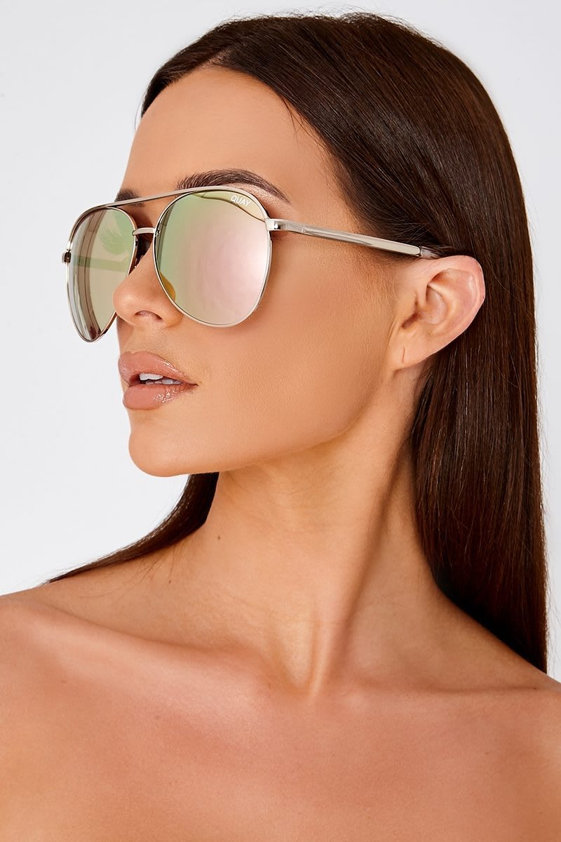 a5073e6151 Quay Vivienne Rose Gold Oversized Aviator Sunglasses