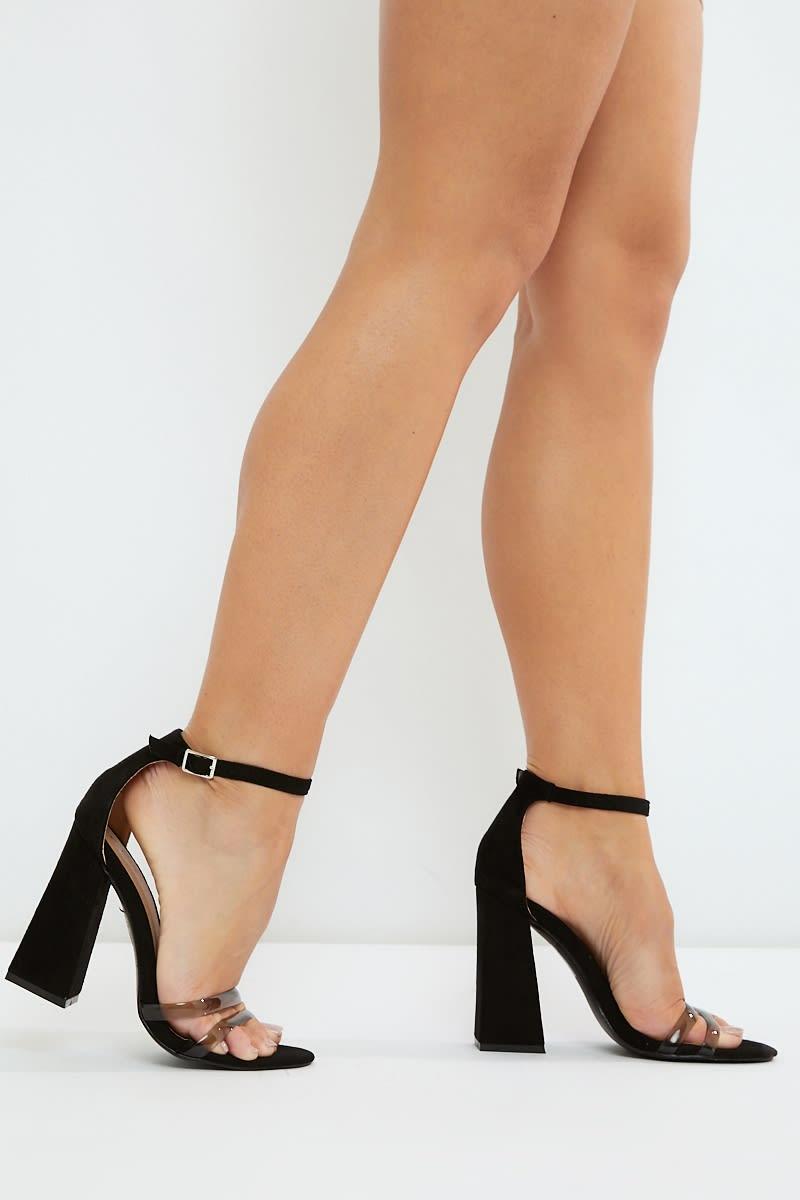 deb8ba50ec4 Nilini Black Clear Strap Block Heels