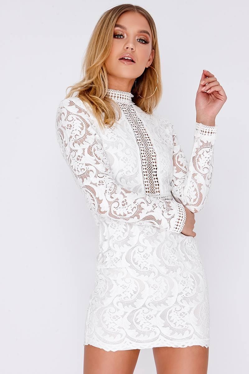 b86e003c1c7b Camelia White Lace Long Sleeve Mini Dress