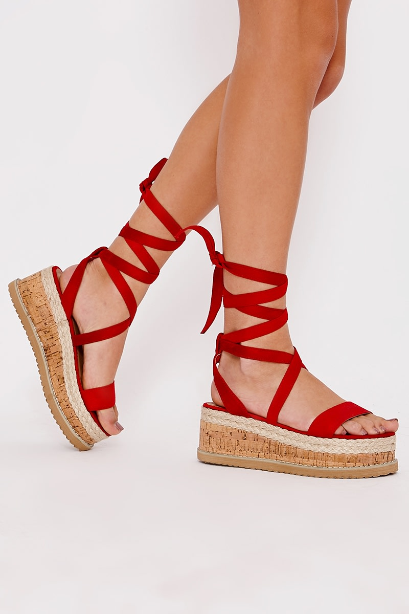 2aadf8e52a2 Selby Red Faux Suede Tie Leg Platform Espadrilles