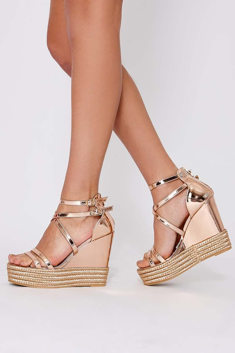 3c73f45114d9 Trudee Rose Gold Chrome Faux Leather Wedges