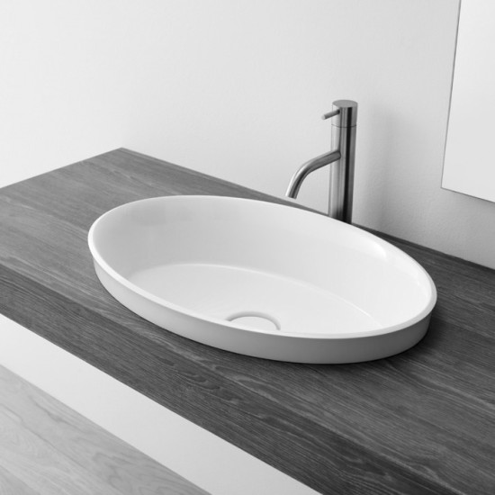Brio: Oval semi-recessed washbasin 58 cm x 38 cm