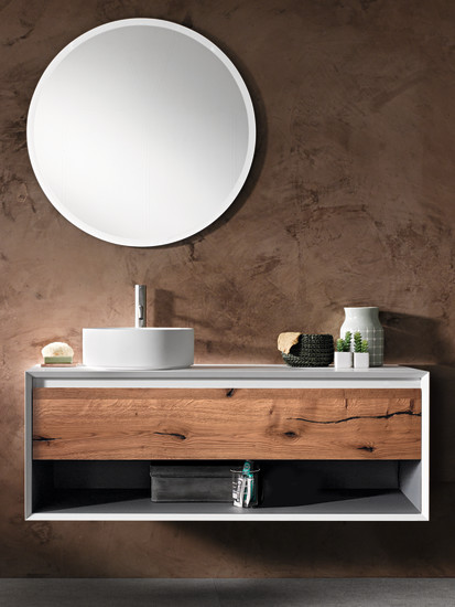 Iks Full: Unit for sit-on washbasin with open compartment L 90-105-120 cm H 50 cm, structure in Fenix NMT