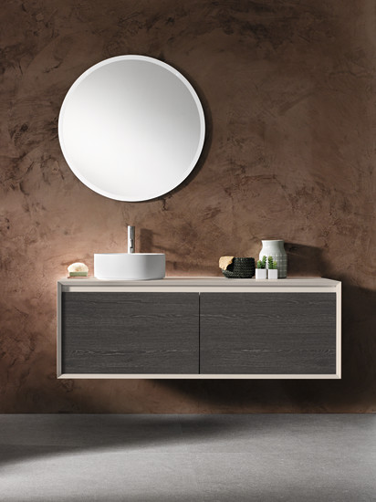 Iks Full: Unit for sit-on washbasin with two big drawers L 140-180 cm H 50 cm, structure in Fenix NMT