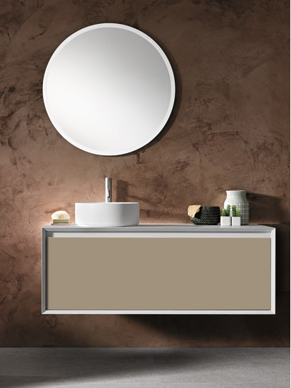 Iks Full: Unit for sit-on washbasin with big drawer L 90-105-120 cm H 50 cm, structure in HPL