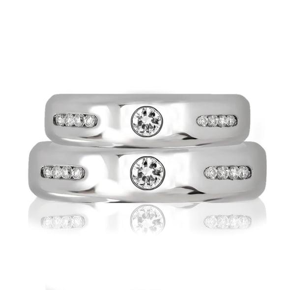 แหวนคู่รักทอง 18K ประดับเพชร น้ำหนักรวม 0.59 กะรัต ค่าสี F ค่าความสะอาด VS