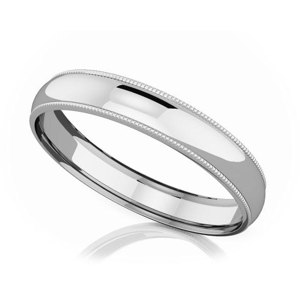 แหวนPlatinum - 4 mm Milgrain domed romantic classic band