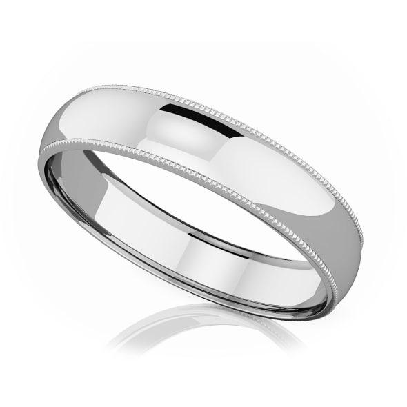 แหวนPlatinum - 5 mm Milgrain domed romantic classic band