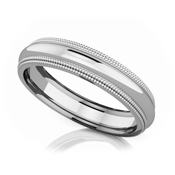 แหวนPlatinum - 4 mm Double milgrain domed romantic classic band